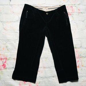 Joie Women Size 4 Black Velvet Ankle Zip Capri Pan